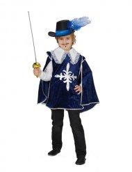 Mittelalterliches-Musketier Kinderkostüm Ritter blau-weiss-silber
