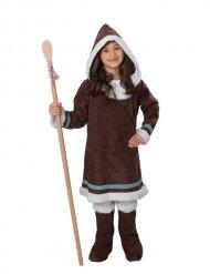 Inuit Eskimo-Kinderkostüm für Mädchen braun-weiss