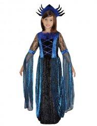 Blau-Schwarze Spinnenkönigin-Kostüm für Kinder
