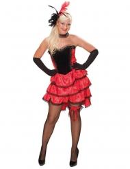 Entzückendes Showgirl-Damenkostüm Burlesque schwarz-rot