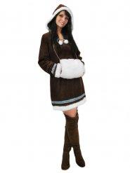 Eskimo-Damenkostüm Inuit-Verkleidung braun-weiss