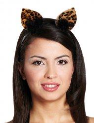 Stirnband Leopard schwarz-braun für Damen