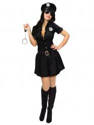 Sexy Polizei-Officer Kostüm für Damen schwarz
