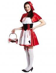Rotkäppchen-Damenkostüm Märchen-Verkleidung weiss-rot-schwarz
