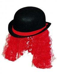 Hut Clown Melone mit schwarzen und roten Haaren