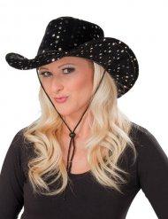 Cowboy-Hut für Damen Cowgirl-Accessoire für Fasching mit Pailletten schwarz