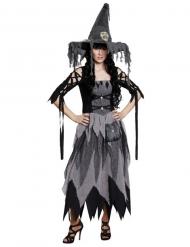 Klassisches Halloween Damen-Hexenkostüm, schwarz/grau