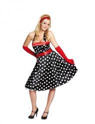 50er-Jahre Petticoat Damenkostüm schwarz-weiss-rot
