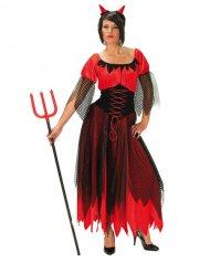 Dämonische Teufelin Halloween Damenkostüm schwarz-rot
