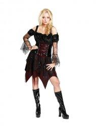 Gothic-Vampirin Damenkostüm für Halloween Magierin schwarz-rot