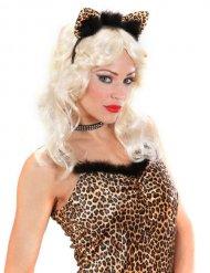 Leopard Stirnband mit gefälschtem schwarzem Pelz Damen