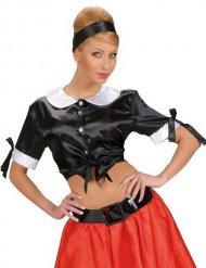 Bauchfreie Rockabilly 50er-Jahre-Satinbluse schwarz-weiss