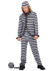 Sträflings-Kostüm für Kinder Gefangener schwarz-weiss