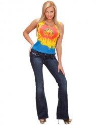 Hippie Batik-Top für Damen Kostümzubehör bunt