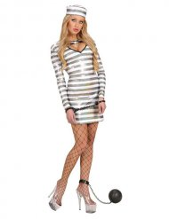 Sexy Sträflings-Kostüm mit Glitzer für Damen weiss-silber