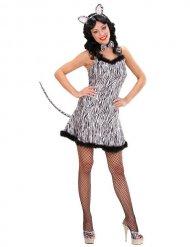 Zebra-Tierkostüm für Damen schwarz-weiss