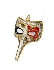 Venezianische Maske Rabe rot-gold Karneval