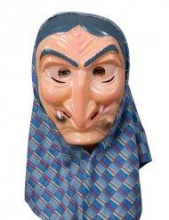 Hexe mit Kopftuch Maske Kostümzubehör bunt