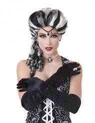 Barock-Perücke für Damen Halloween-Accessoire schwarz-weiss