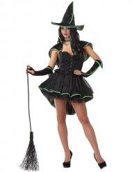 Magierin Hexenkostüm für Damen Halloween schwarz-grün