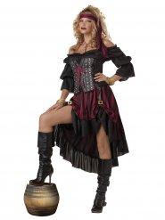 Piraten-Kostüm Damen Deluxe-Ausführung weinrot-schwarz
