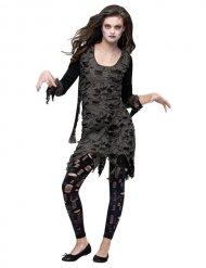Verruchtes Zombie-Damenkostüm Halloween schwarz-grau