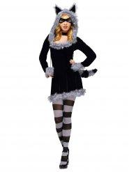 Waschbär-Kostüm sexy für Damen schwarz-grau