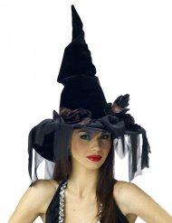 Schwarzer Hexenhut mit Tüll für Halloween