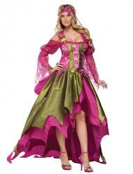 Mittelalter Feenkostüm für Damen grün-pink