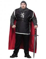 Mittelalterliches-Herrenkostüm Ritter grau-rot