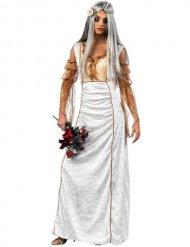 Horror-Braut Damenkostüm Gothic Halloween gold-weiss