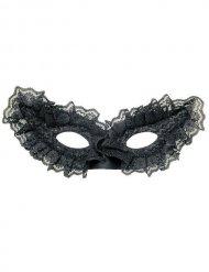 Domino Maske venezianisch mit Spitze schwarz