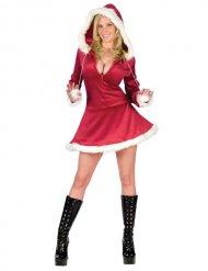 Verführerische Weihnachtsfrau Kostüm für Damen rot-weiss