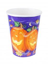 8 Halloween-Pappbecher - Kürbisköpfe - bunt