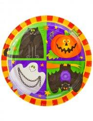 Pappteller Halloween für Kinder Tischzubehör 10 Stück bunt 23 cm