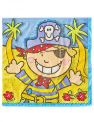 Party-Servietten Piraten Tischzubehör 20 Stück bunt 33x33cm