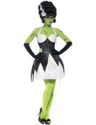 Monstermäßiges Damenkostüm Braut Halloween schwarz-weiss