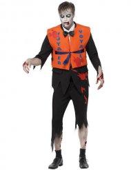Ertrunkener Zombie Kostüm für Herren orange-schwarz