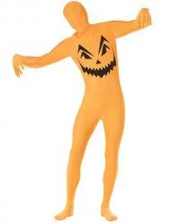 Kürbis-Kostüm Second Skin Overall Halloween orange-schwarz