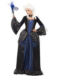 Edles Barock-Kleid für Damen Renaissance blau-schwarz