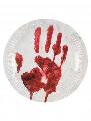 10 Teller blutiger Handabdruck Halloween