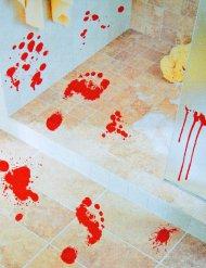Blutige Spuren Fußabdrücke Sticker Halloween-Deko rot