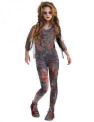 Zombie Halloween-Kinderkostüm Mädchen grau-rot
