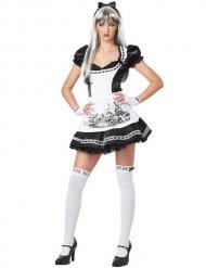 Düstere Alice Damenkostüm Halloween schwarz-weiss