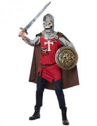 Knochen-Ritter Herrenkostüm für Halloween grau-rot