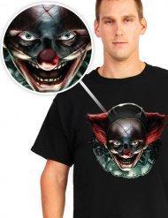 Halloween-T-Shirt - Mörder-Clown - schwarz mit Multicolor-Druck
