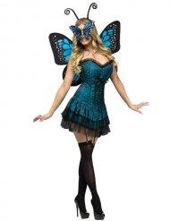 Fee Schmetterling-Kostüm für Damen - blau - schwarz