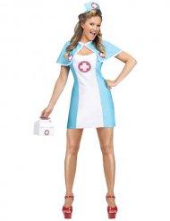 Bezaubernde Krankenschwester Kostüm für Damen blau-weiss