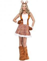 Reh-Kostüm für Damen tierische Rentier-Verkleidung braun-weiss