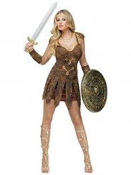 Kriegerische Gladiatorin Antikes-Damenkostüm braun